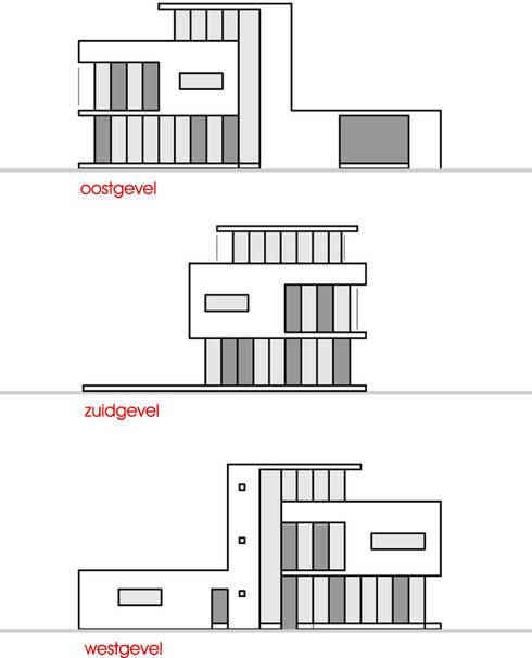 gevelaanzichten: Vrijstaand woonhuis voor Elisabeth & Hugo:   door Archivice Architektenburo
