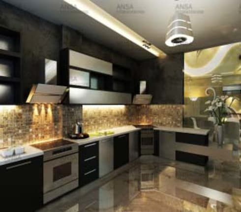 Residential: asian Kitchen by ANSA Interiors