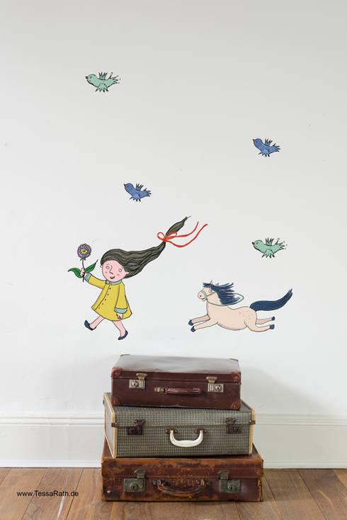 """Set Wandaufkleber """"Mädchen mit Pferd"""":  Kinderzimmer von Tessa Rath Illustration"""
