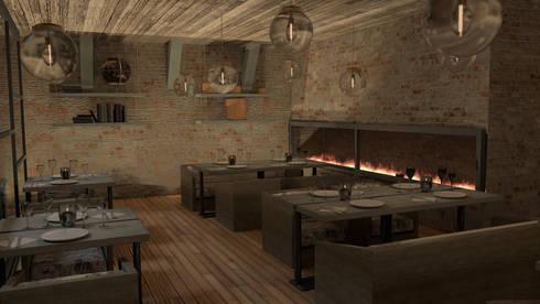 Restaurante: Oficinas y tiendas de estilo  por Zono Interieur