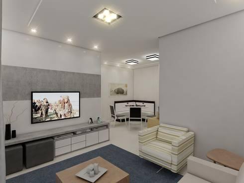 Apartamento AG: Salas de estar modernas por Merlincon Prestes Arquitetura