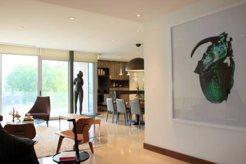 Departamento: Salas de estilo moderno por AaC+V Arquitectos