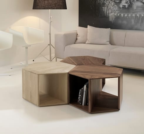 HEXA COFFE/SIDE TABLE: Casa  por Wewood - Portuguese Joinery