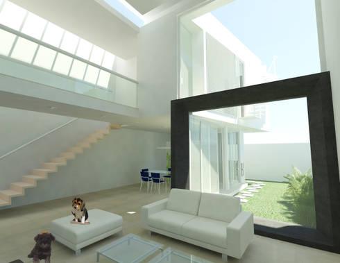 CASA M y E: Salas de estilo minimalista por Flores Rojas Arquitectura