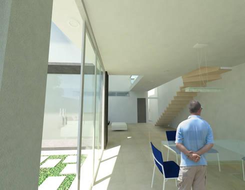 CASA M y E: Pasillos y recibidores de estilo  por Flores Rojas Arquitectura