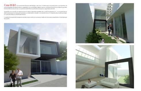 CASA M y E: Casas de estilo minimalista por Flores Rojas Arquitectura