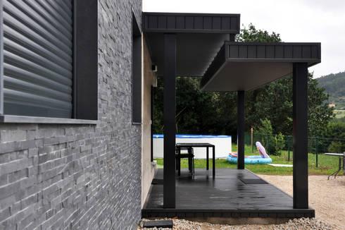 casa prefabricada cube 75 m2fachada y porche - Porche Casa