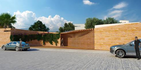 Jardín de eventos Le Mite: Casas de estilo moderno por Flores Rojas Arquitectura