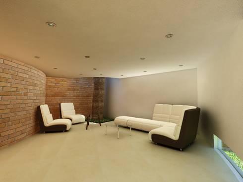 Jardín de eventos Le Mite: Salas de estilo moderno por Flores Rojas Arquitectura