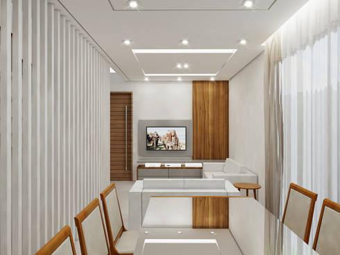 Residência 4x22: Salas de estar modernas por Merlincon Prestes Arquitetura