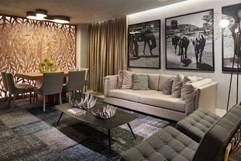 Decora Líder Brasília – Morada da Família Tignaello: Salas de estar modernas por Lider Interiores