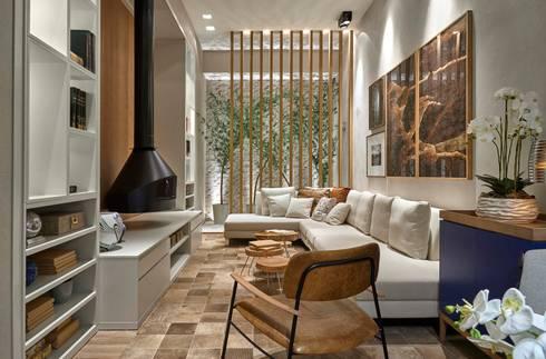 Decora Líder Belo Horizonte - Living da Lareira: Salas de estar modernas por Lider Interiores