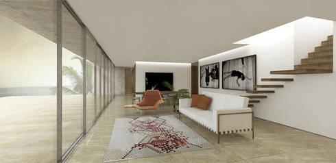 Sala de Estar: Salas de estar minimalistas por Gustavo Guimarães