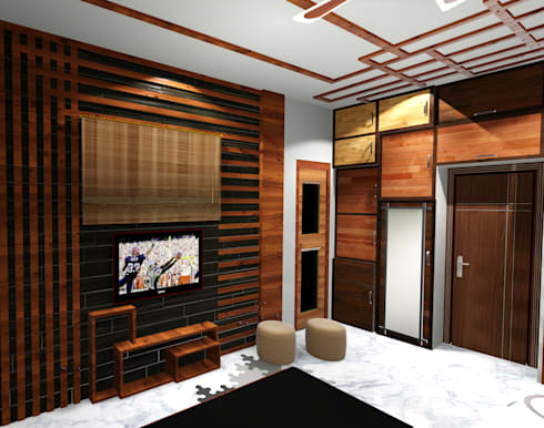 room 1 tv view: modern Bedroom by Creazione Interiors