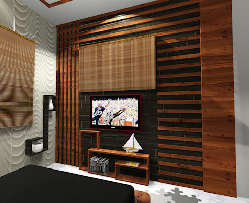 Room 1 tv close view : modern Bedroom by Creazione Interiors
