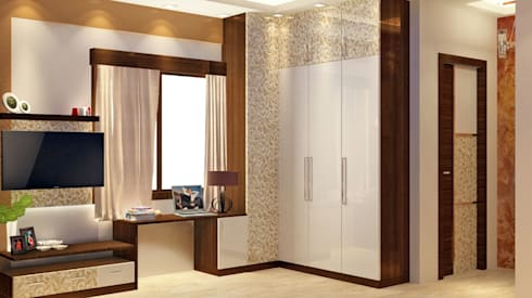 Room 2 wardrobe view: modern Bedroom by Creazione Interiors