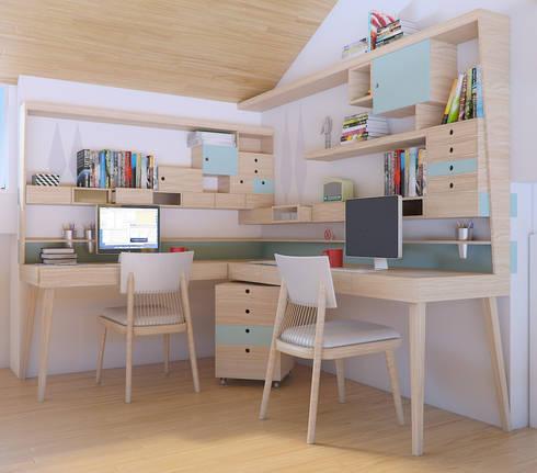 Escritório ThoMon: Escritório e loja  por Infinitta - arte   design   arquitetura   interiores   vm