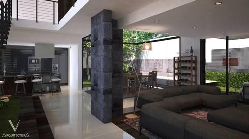 Vista de ingreso a sala y comedor:  de estilo  por V Arquitectura