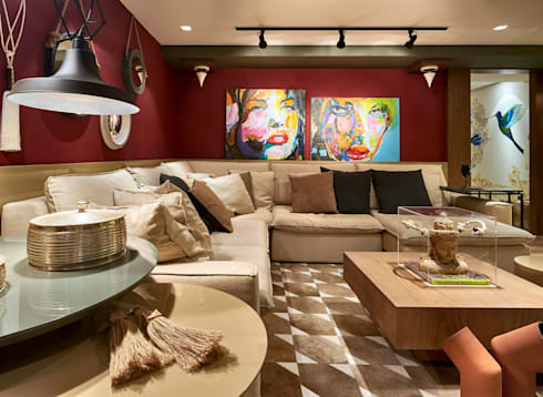 Decora Lider Rio de Janeiro – Espaço Home Theater: Salas de estar modernas por Lider Interiores