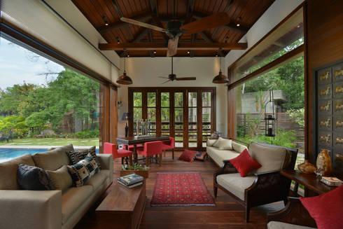 Chattarpur Farmhouse New Delhi: modern Living room by monica khanna designs