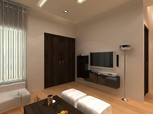 C-1860 Sushant Lok 1, Gurgaon, Haryana: modern Media room by Indeera Builders Private Limited