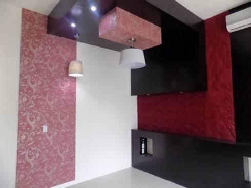 recamara roja: Recámaras de estilo ecléctico por bello diseño interior