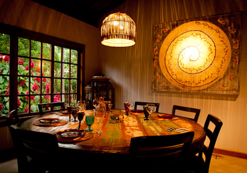 Sala Jantar: Salas de jantar rústicas por Jaqueline Vale Arquitetura