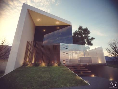 Vista Principal 2: Casas de estilo minimalista por 21arquitectos