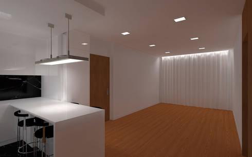 REMODELAÇÃO APARTAMENTO: Salas de estar minimalistas por RHARQUITECTOS
