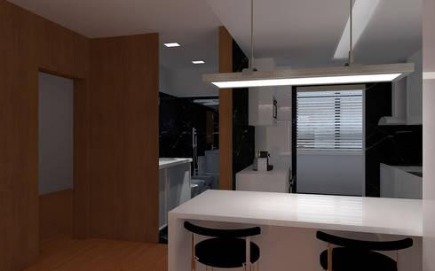 REMODELAÇÃO APARTAMENTO: Cozinhas minimalistas por RHARQUITECTOS