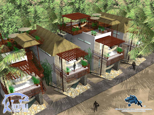 VILLAS:  de estilo  por villarreal arquitectos y urbanistas asociados sc