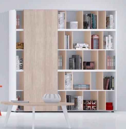 estantera modular en tono de madera natural y blanco salones de estilo moderno de casasola