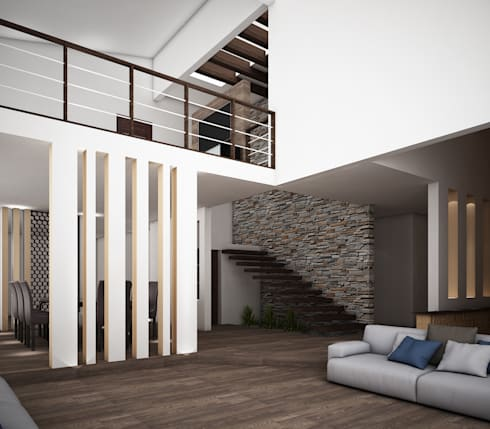 Casa O-M: Salas de estilo rústico por Jeost Arquitectura