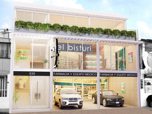 El Bisturi Lindavista : Espacios comerciales de estilo  por Boué Arquitectos