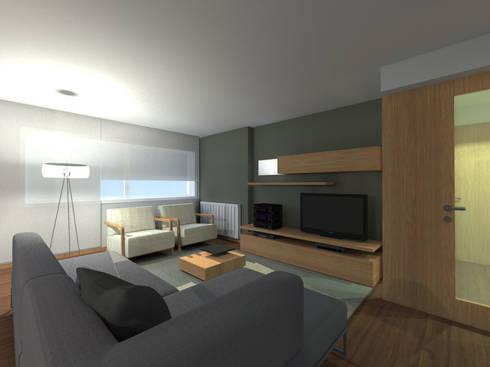 Projeto de Remodelação Apartamento FL: Salas de estar minimalistas por Pedaços de Casa