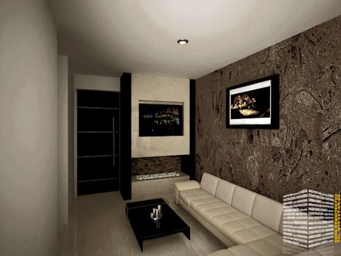 CENTRO DE DIVERSIONES: Salas multimedia de estilo minimalista por HHRG ARQUITECTOS