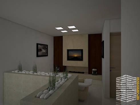 SALA DE TELEVISION: Pasillos y recibidores de estilo  por HHRG ARQUITECTOS