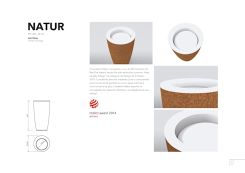 Lavatório NATUR - detalhes e especificidades: Casa de banho  por AMA Design
