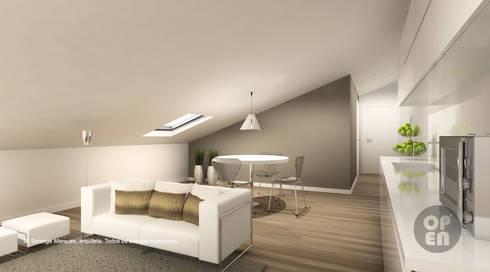 Sótão – Leiria: Salas de estar modernas por ATELIER OPEN ® - Arquitetura e Engenharia