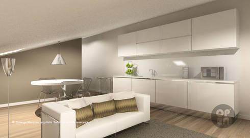 Sótão – Leiria: Cozinhas modernas por ATELIER OPEN ® - Arquitetura e Engenharia