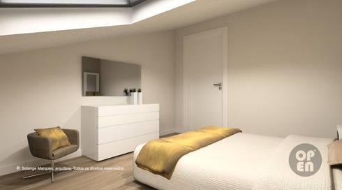 Sótão – Leiria: Quartos modernos por ATELIER OPEN ® - Arquitetura e Engenharia