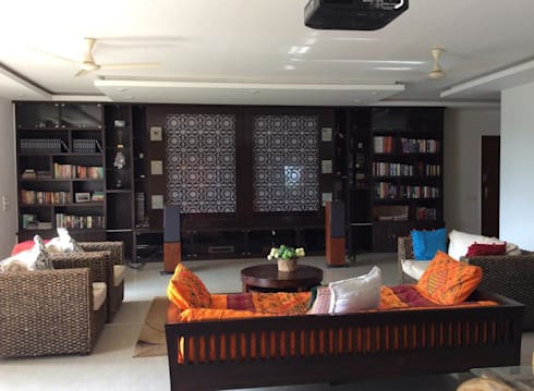 4BHK Home Interior End to End Turnkey Project @ Whitefield Bangalore: asian Living room by Dream Designers