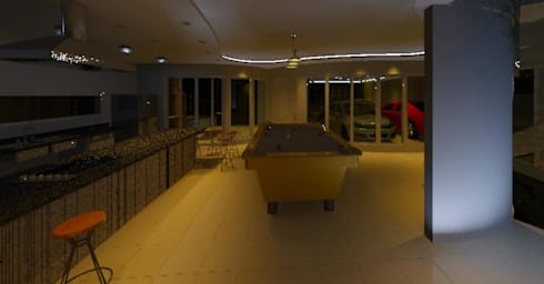 Interiores e Luminotécnica de Residência: Salas de estar modernas por Henrique Thomaz Arquitetura e Interiores
