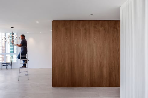 Sala de Estar: Paredes  por Fabio Rudnik Arquitetura