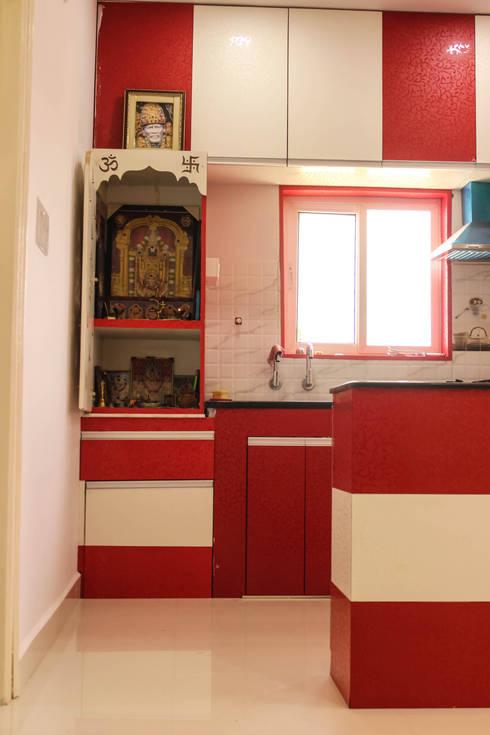 2 Bedroom Flat at Manikonda:  Kitchen by Happy Homes Designers