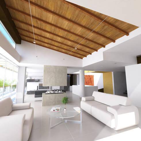 Casa Hernandez: Salas de estilo mediterráneo por Lápiz De Sueños