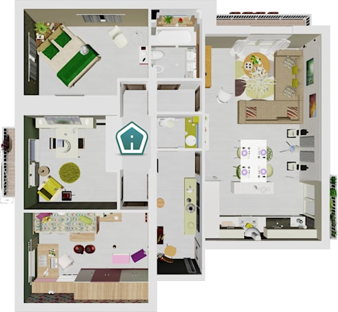 Spaccati e planimetrie di 3d casa design homify for Planimetrie in stile acadiano