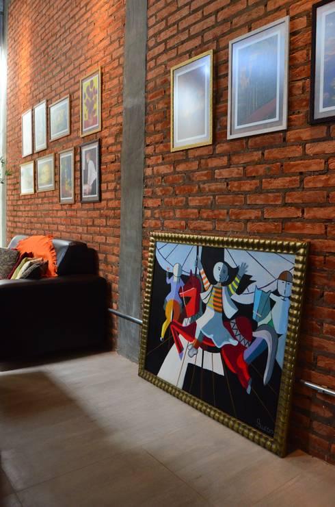 Projekty,  Salon zaprojektowane przez TRES MAIS arquitetura