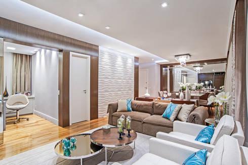 Living e jantar: Salas de estar modernas por Adriane Perotoni Arquitetura.Interiores
