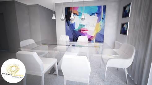 Projecto de Decoração Sala, Zona de estar e zona de refeições - by Andreia Louraço Design e Interiores:   por Andreia Louraço - Designer de Interiores (Contacto: atelier.andreialouraco@gmail.com)